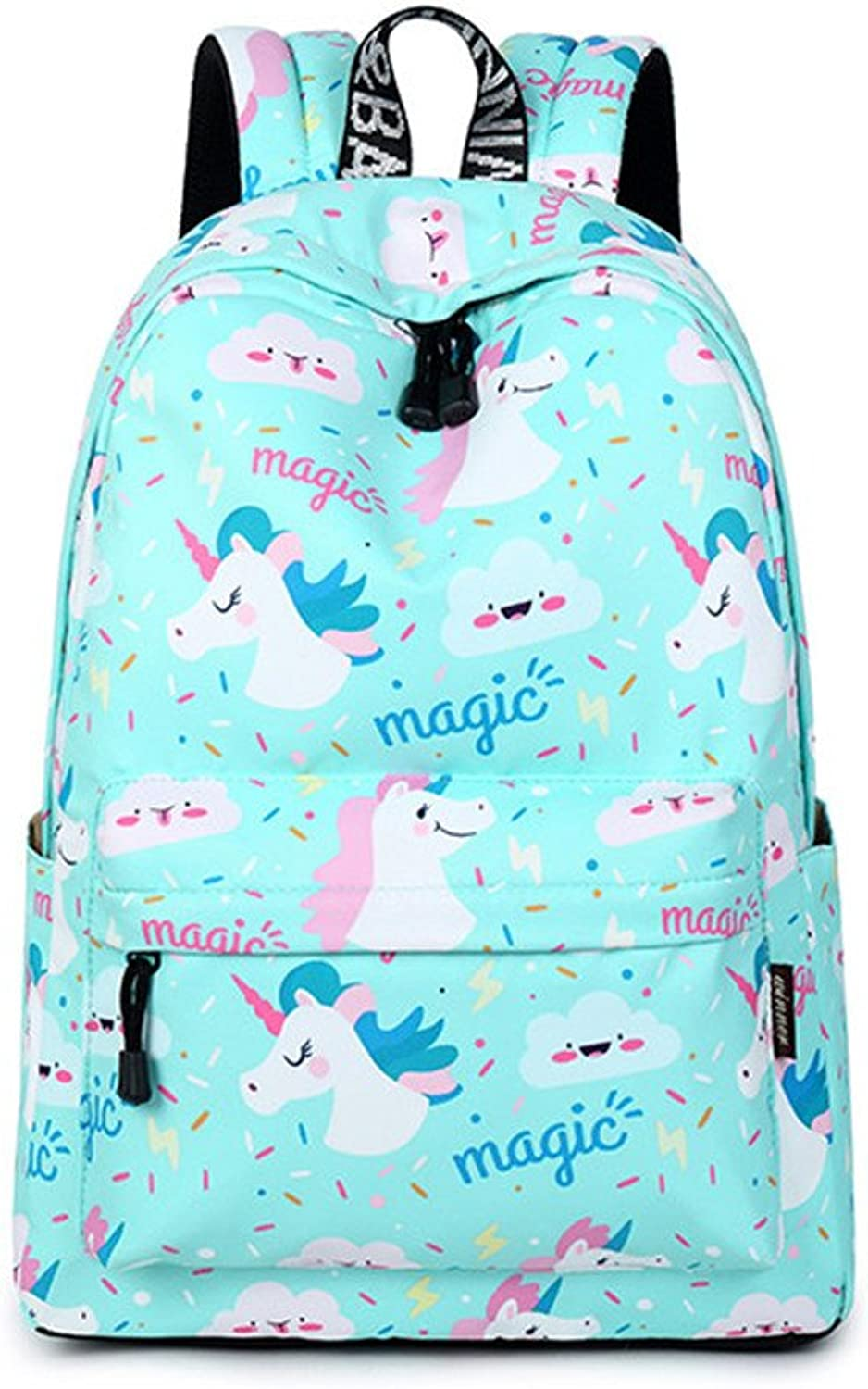 Waterproof Canvas Animal Printing Women School Backpack 1415.6 inch Travel Laptop Bag Pack bluee Kawaii Bookbag for Girl Sky bluee 14 inches