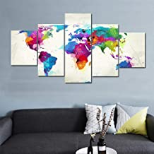 5 قطع من لوحات جريبيارت القماشية الجدارية الفنية المطبوعة عالية الدقة بالألوان تجريدية لخريطة العالم صورة جدارية لغرفة المعيشة