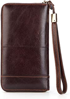 Wallets for Men leather, Long Leather Wallet Slim Business style, Genuine Leather Pocket Wallet Cash Card Coins Cases & Mo...