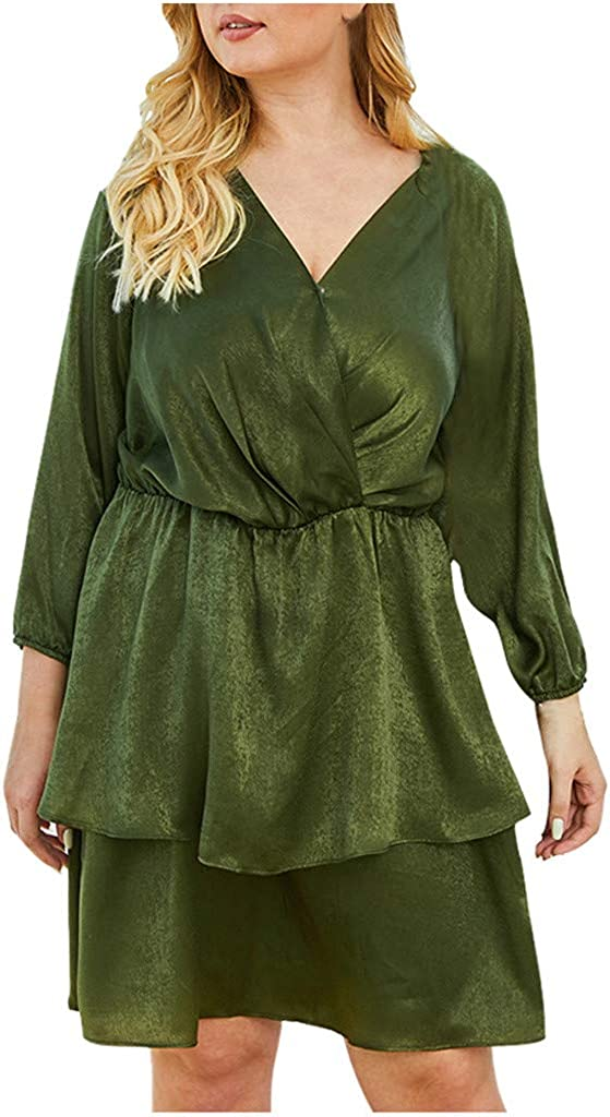 aihihe Long Sleeve Dresses for Women Formal Wedding Evening Dress V Neck Ruffle Plus Size Midi Green Dress 2020 New