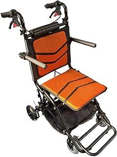 【最軽量・最コンパクト】 Nice Way7 軽量 折りたたみ式 車椅子 【荷物入れネット付き】【介助ブレーキ付き】【アルミ製】【ノーパンクタイヤ】 (オレンジ)