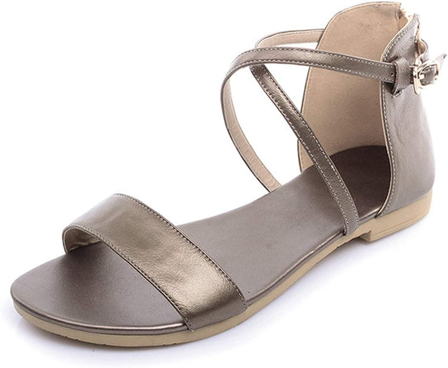 Mo Duo 100% Genuine Leather Fashion Sweet Women Flats Heel Sandals Buckle Strap Women shoes