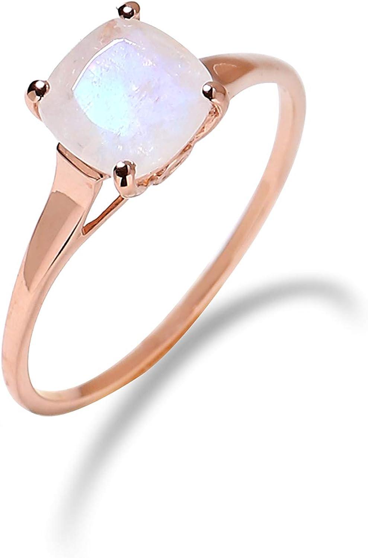 YoTreasure 1.88 Cts Rainbow Moonstone Solid 10k Rose Gold Ring Jewelry