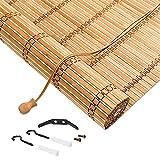 X1NGFU Persianas Enrollables de Bambú para Exteriores,Naturales Estores de Bambú de Estilo Japonés,Cortinas Privacidad Protección,Cortina de Madera,para Exteriores,Personalizable (70x140cm/28x55in