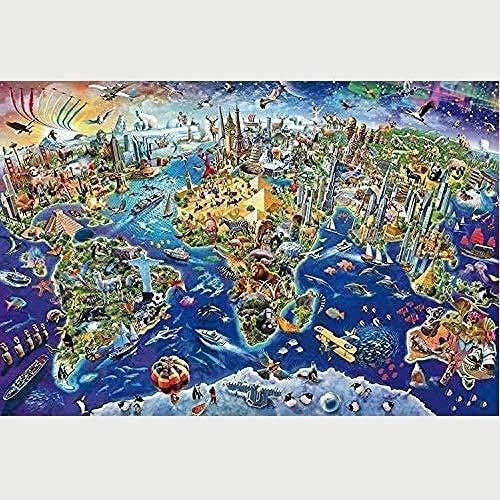 FPRW Aangepaste puzzels, Cartoon wereldkaart 1000 stuk houten puzzel, educatieve kunst volwassenen tieners kinderen speelgoed cadeau