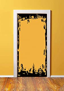 Halloween 3D Door Sticker Wall Decals Mural Wallpaper,Black Framework Borders with Halloween Icons Cats Bats Skulls Ghosts Spiders Decorative,DIY Art Home Decor Poster Decoration 30.3x78.5730,Yellow B