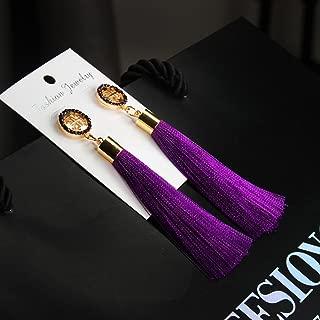 Fashion Rhinestone Long Tassel Dangle Earrings Ladies Girls Thread Fringe Drop-L Gift
