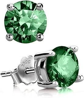 Sterling Silver Birthstone Earrings 6mm 0.84 Carat Created Diamond or Gemstone Ear Earring Studs Jewelry Women Girls Anniversary Birthday Mom Christmas Gifts