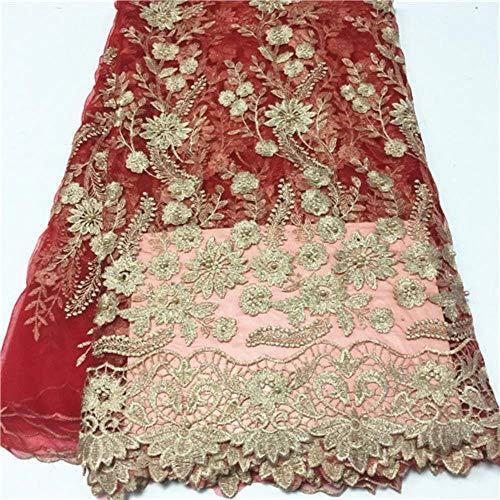 PENVEAT Afrikanische Spitze-Gewebe für Brautkleid Französisch Nigerian Spitze Fabrics günstigen Preis Tüllspitze Stoff mit Perlen 5yards, PL1200504F104
