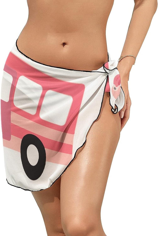 Women Beach Wrap Sarong Cover Up Home Happy Camper Flamingos Sexy Short Sheer Bikini Wraps