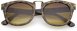 sunglassLA - 角缘金属鼻梁圆形镜片经典太阳镜 52mm