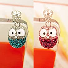 2pcs Dust Caps for Phone, Rhinestone Owl Earphone Jack Accessories Dust Plug Lovely Decor for Iphone 6s 6 Ipad Samsung Galaxy s7 s6 note5 Other Cellphone 3.5mm Ear Jack