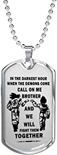 Big Brother Dragonball Necklace Goku Vegeta Pendant - Unique Birthday Gifts Ideas from Friend On Birthday, Xmas…Silver Stainless Steel