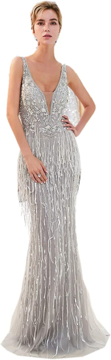 Darcy74Dulles Women's Double VNeck Evening Dresses Grey Mermaid Long Prom Dresses with Beaded Sequins