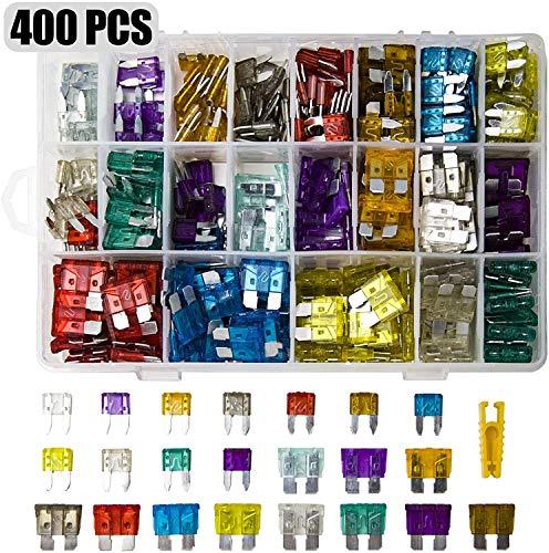 400 Stück Mini sicherungen Kfz,200+200 Stück Autosicherungen Set für Teile und Zubehör für Automobil, LKW, Geländewagen, Kombi, Motorrad und Wohnmobil(2A 3A 5A 7.5A 10A 15A 20A 25A 30A 35A 40)