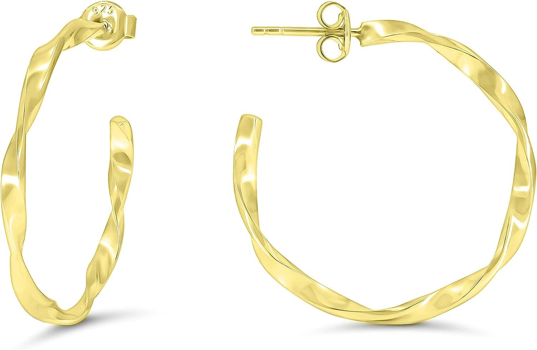 925 Sterling Silver Twisted 毎日激安特売で 営業中です 販売実績No.1 Hoop Women Earrings for Hypoallerge