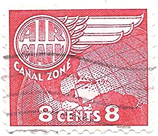 Canal Zone US Possession Air Mail Postage Stamp Single (1 Stamp Canceled) 8 Cents Scott #C34