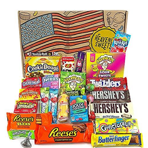 Gran cesta con American Candy | Caja de caramelos y Chucherias Americanas | Surtido de 27 artículos incluido Reeses Hersheys Reeses Jelly Belly Twinkie | Golosinas para Navidad Reyes o para regalo
