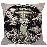 Throw Pillow Cover, OVNI Abducción de un ser Humano con Icono de platillo Volador Moon Mountain, Negro, Blanco, Decorativo, Cuadrado, Fundas de cojín para el hogar, sofá, sofá, 30 * 30 cm