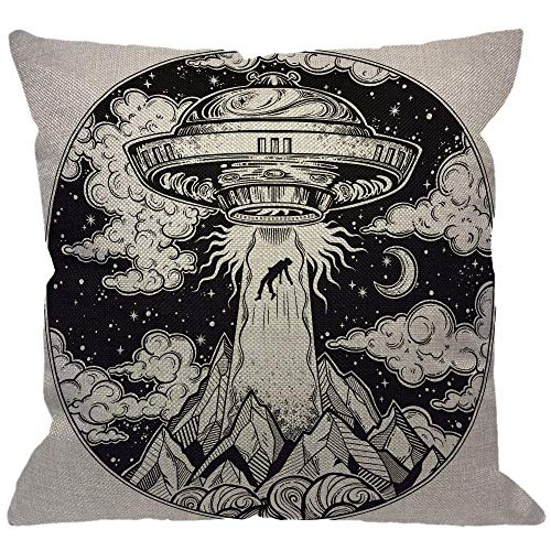 hodmadod Alien Spaceship Throw Pillow Cover,UFO Abduction of A Human with Flying Saucer Icon Moon Mountain Black White Decorative Pillow Cases Square Cushion Covers for Home Sofa Couch 16' X 16'(in)