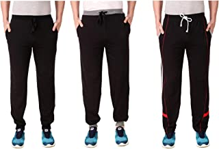 Cynak Men's Cotton Trackpants with Both Side Zipper Pockets (Multi Color) (Medium Size) (Pack of 3 Trackpants)