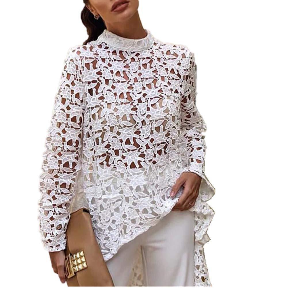 DAHDXD Top para Mujer y Blusas Moda Blusa de Encaje Ahueca hacia Fuera la Camisa Larga: Amazon.es: Deportes y aire libre