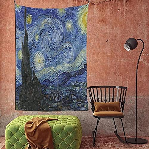 Pintura de la noche estrellada 3d Boutique tapiz de pared decorativo Pop Art Retro micro microfibra decoración del hogar 90in * 60in