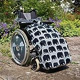 Cosy - Saco impermeable para sillas de ruedas - Para adultos - Con forro polar - Universal Fácil de ajustar. Viene en una bolsa compacta para guardarlo cómodamente - Diseño de elefantes - Gris