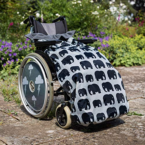 100% Waterproof Fleece-lined Wheelchair Cosy Cover | Universal fit for manual and powered wheelchairs | Adult Size (grey elephant)