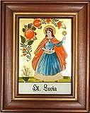Hinterglaswerkstätten - Hinterglasbild / Patronatsbild 'Hl. Lucia' mit braun gebeizten Holzrahmen, handbemalt mit Legende des Heiligen auf der Bildrückseite, ca. B: 12,5 x H: 16 cm