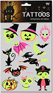 4 Sheets Fluorescence Ghost Halloween Temporary Tattoo Stickers for Kids Cosplay Costume Party