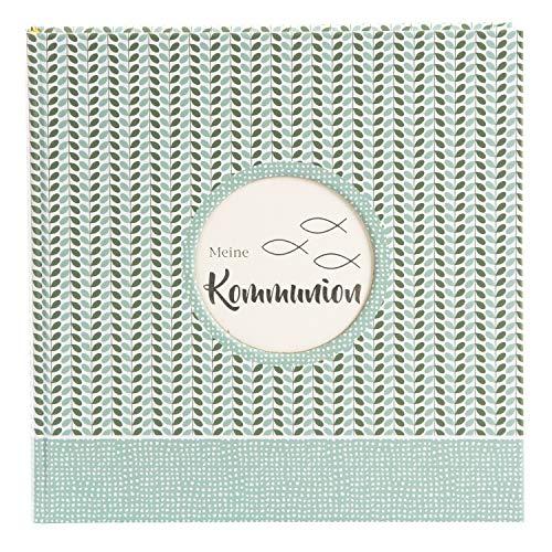 Goldbuch comunión con 58 Blancas y 4 páginas ilustradas, álbum para Pegar con Relieve de Plata y Troquelado para su Propia Imagen, Libro de Fotos, Papel, Dominicus Mint, ca. 25 x 25 cm