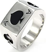 LILILEO Jewelry Black Silver Stainless Steel Ring Poker Spade Ace For Men's Rings Jewelry