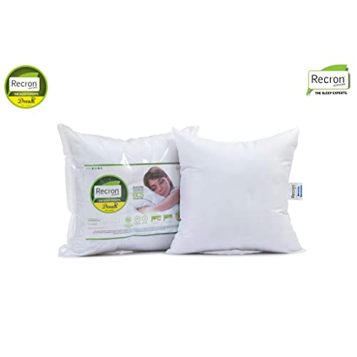 Recron Certified Dream Fibre Cushion - 41 cm x 41 cm, Pack of 2, White