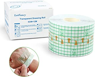 """Transparent Stretch Adhesive Bandage Tape, 2""""x 13Yards Tattoo Bandage Roll, LotFancy Waterproof Transparent Film Dressing for Tatttoo Aftercare, Stretch Adhesive Tape Second Skin Healing Protective"""