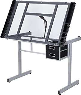 VIVOHOME Glass Adjustable Height Drafting Desk Drawing Table with 2 Storage Drawers for Kids Adults Artists