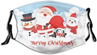 Kids Christmas Cloth Face Mask Bandana With 2pcs Filters, Cute Santa Claus Scarf Adjustable Earloop Washable Reusable Breathable for Outdoor