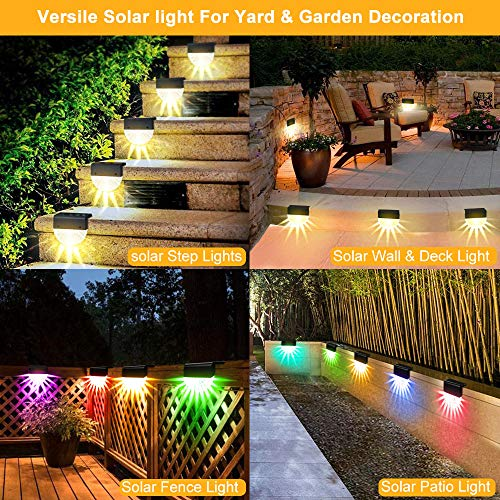 Solar Deck Light Set for Step Stair,Decorative Outdoors Solar Wall LED Fence Light with Switch,Waterproof Garden Warm White Color Changing Light for Patio Yard Pathway Driveway Outside Post Cap,6 Pack