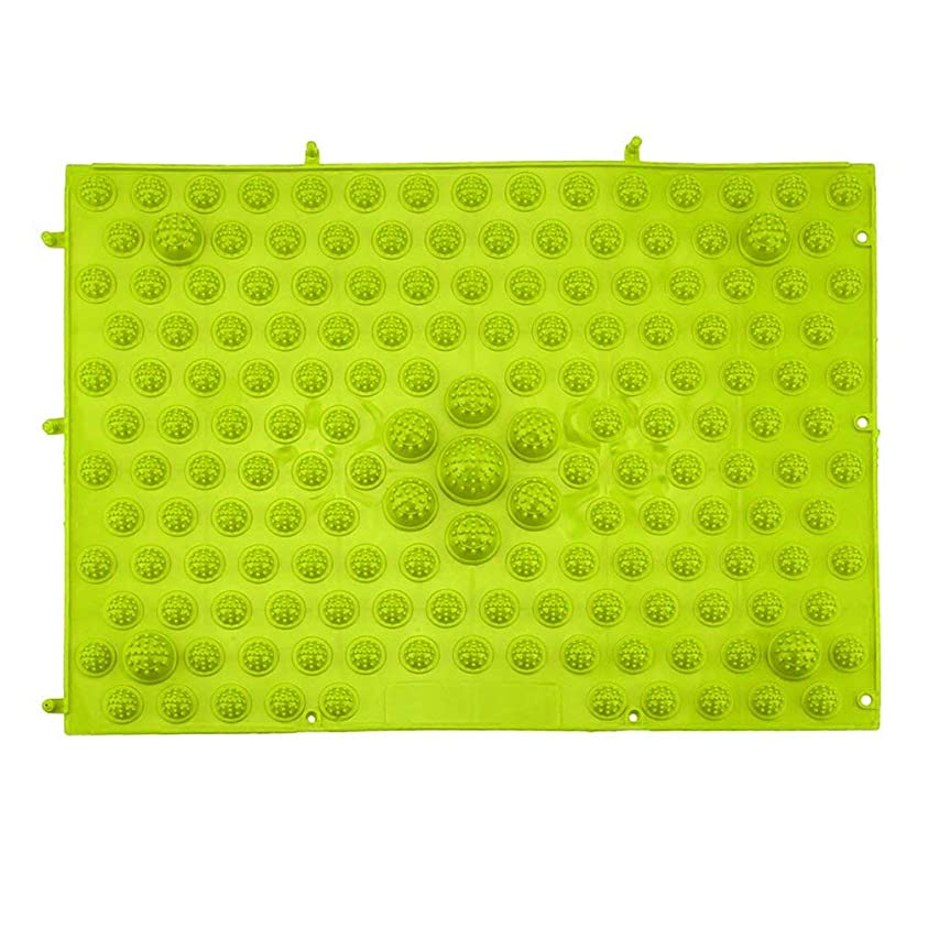 聞くクール値する指圧フットマットランニングマンゲーム同型フットリフレクソロジーウォーキングマッサージマット用痛み緩和ストレス緩和37x27.5cm - グリーン
