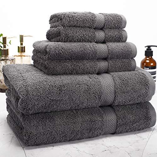 Isbasa Cotton - Juego de toallas de baño de lujo absorbentes para spa y baño, 2 toallas de baño, 2 toallas de baño, 2 toallas de mano, 2 toallas de baño y 2 paños (gris)