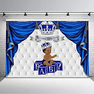 Mehofoto Royal Blue and Silver Baby Shower Backdrop Silver Crown Ethnic Prince Photo Backgrouns 7x5ft Glitter Silver Tufted Backdrops for Baby Shower Decorations