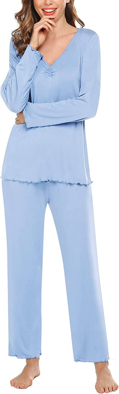 VOOMALL Pajamas Set for Women Long Sleeve Sleepwear V-Neck Pj Top with Long Sleep Pants Soft Loungewear S-XXL