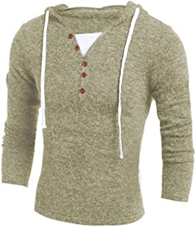 Men S Hooded Sweater Casual V Zzbiao (Color : Beige, Size : XXL)