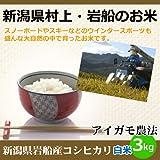 【新潟県村上・岩船のお米】新潟産コシヒカリ(アイガモ農法)白米3kg