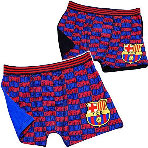 alles-meine.de GmbH 2 TLG. Set - Slips / Boxershorts - Fußball - FC Barcelona - FCB - Größe 6 bis 8 Jahre - Gr. 128 bis 140 - 100 % Baumwolle - für Jungen Kinder - Boxershort SLI..