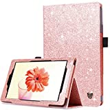 BENTOBEN Fire HD 8 Case(2018/2017/2016 Released,8th/7th/6th Generation),Kickstand Glitter Sparkly Folding Cover with Stylus Holder & Auto Wake/Sleep Protective Case for Amazon Fire HD 8, Rose Gold