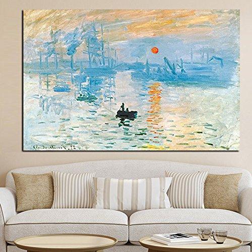Jbclly Claude Monet Impresión Sunrise Famoso Paisaje Pintura al óleo sobre Lienzo Arte Impresión del Cartel Imagen de la Pared para la Imagen de la Sala de Estar A5 70X120CM
