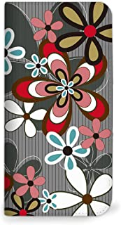 mitas Galaxy NOTE 5 SM-N9200 ケース 手帳型 ベルトなし 花 花柄 花がら フラワー グレー (262) NB-0058-GY/SM-N9200