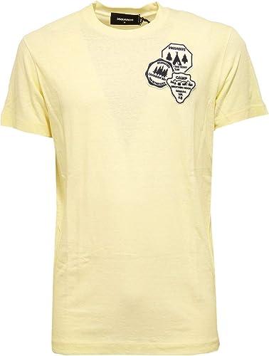 Dsquarouge2 9595Y Maglia hommes Vintage lumière jaune Cotton Slub Fabric t-Shirt Man
