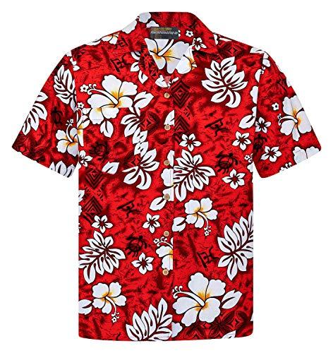 Hawaiihemdshop Hawaiihemd | Herren | Baumwolle | Größe S - 8XL | Kurzarm | Hawaiihemden | Blüten | Blumen | Retro | Klassisch | Hibiskus | Aloha | Kokosnuss-Knöpfe | Hawaii Hemd